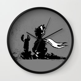 The LITTLE PRINCE and the FOX quote - stencil - grey version Wall Clock