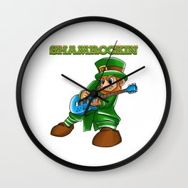 Shamrockin_ Leprechaun Guitarist St Patricks Wall Clock