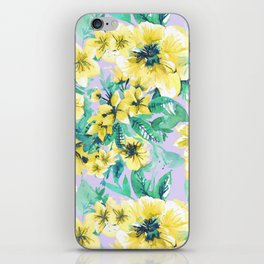 Floral Print Tropical Yellow iPhone Skin