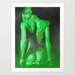 Beautiful Young Woman Wearing Plaits and Panties (Green) Art Print
