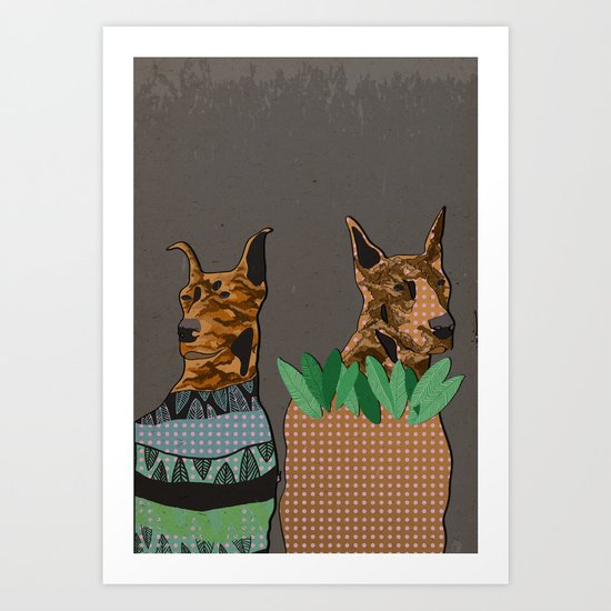 Stylish dogs Art Print