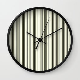 Large French Beige Mattress Ticking Black Double Stripes Wall Clock