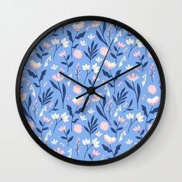 Floral Blue Pattern Wall Clock