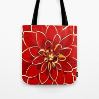 dahlia Tote Bags featuring Dahlia by Saundra Myles