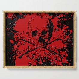 Skull and Crossbones Splatter Pattern Serving Tray