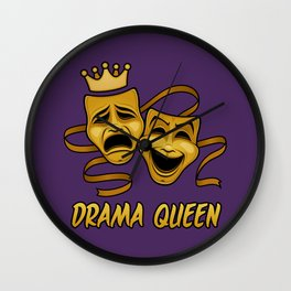 Drama Queen Comedy And Tragedy Gold Theater Masks Wall Clock