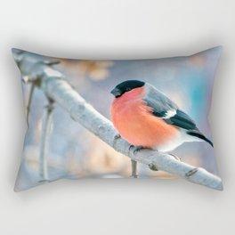 Wonderful Stunning Bullfinch Relaxing On Tree Branch Close Up Ultra HD Rectangular Pillow