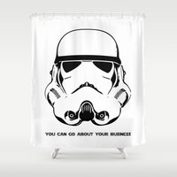 storm trooper Shower Curtains featuring Trooper by C Liza B