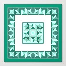 Greek Key emerald Canvas Print