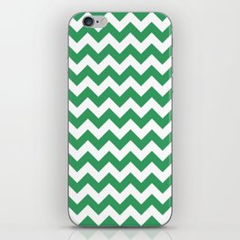 Kelly Green and White Chevron Print iPhone Skin
