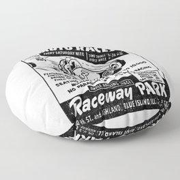 Midget Auto Races, Race poster, vintage poster, bw Floor Pillow