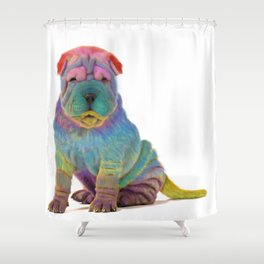 Colorful Sharpei Shower Curtain