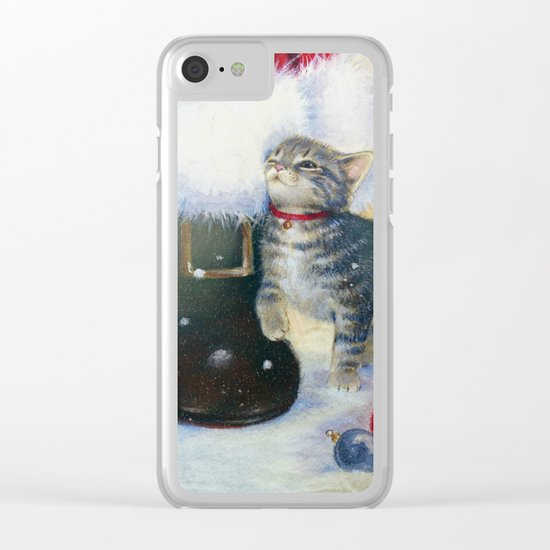 Kitten at Santa's Boot Clear iPhone Case