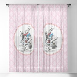 Alice in Wonderland | The Herald of the Court of Hearts | White Rabbit | Pink Damask Pattern | Sheer Curtain