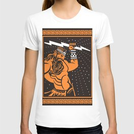 greek roman ray god jupiter zeus orange and black old plate painting T-shirt