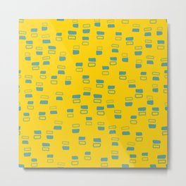Happiness In Shapes 3 - Yellow Light Blue Metal Print