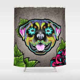 Rottweiler - Day of the Dead Sugar Skull Dog Shower Curtain