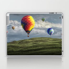 Hot Air Balloons over Green Fields Laptop & iPad Skin