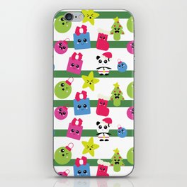 Kawaii Christmas Ornaments Stripes Panda Trees iPhone Skin