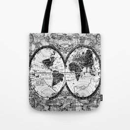 world map black and white Tote Bag