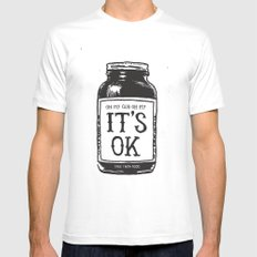 IT'S OK MEDIUM White Mens Fitted Tee