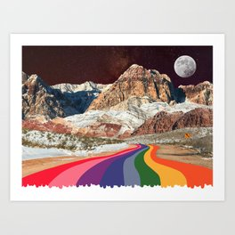Retro Road Curves // Red Rock Canyon Collage Milky Way Galaxy Stars Moon 1960s Colors Art Print