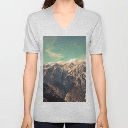 Vintage mountain with teal sky Unisex V-Neck