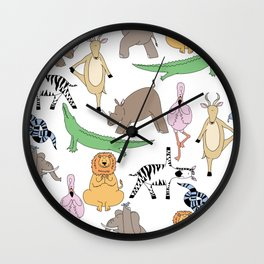 safari animal yoga Wall Clock