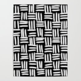 Black and White Basketweave Strokes Poster