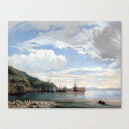 François Antoine Léon Fleury On the Bay of Naples Canvas Print