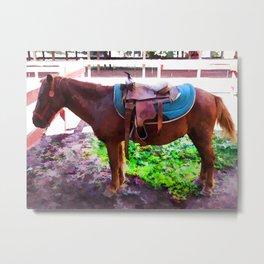 Saddle on Horseback 2 Metal Print