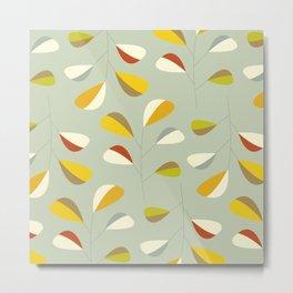 Mid Century Modern Graphic Leaves Pattern 1. Vintage green Metal Print