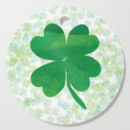 Lucky Watercolor Clovers Cutting Board