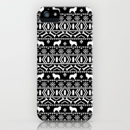 Great Pyrenees fair isle dog breed silhouette christmas pattern black and white iPhone Case