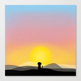 The Admirer - Little Dog Big Sunset Canvas Print