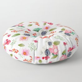 Modern pink red watercolor tropical floral koi fish pattern Floor Pillow