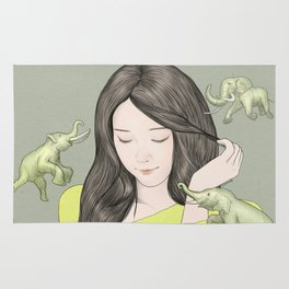 GIRL WITH ELEPHANT Rug