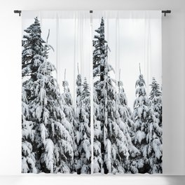 Winter Trees IX - Snow Capped Forest Adventure Nature Photography Blackout Curtain