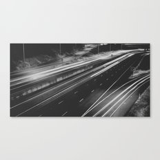 Seattle at Night - Black and White Canvas Print