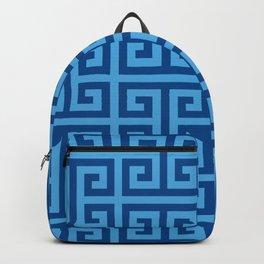 Denim and Bright Blue Greek Key Pattern Backpack