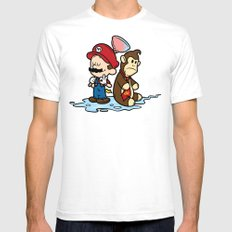 Mario and Kong Mens Fitted Tee White SMALL