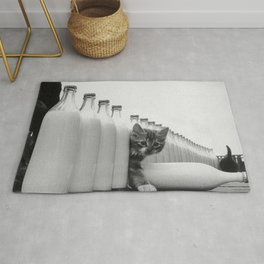 You Did Not See That! - Kittens knocking over Glass Bottles of Milk black and white photograph / photography Rug