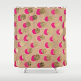 Modern Christmas watercolor neon pink gold foil polka dots on Kraft Shower Curtain