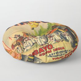 Illustrated Circus Poster Floor Pillow