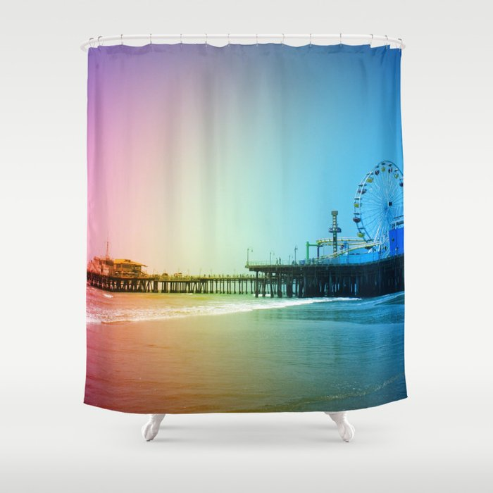 Santa Monica Pier Rainbow Colors Shower Curtain