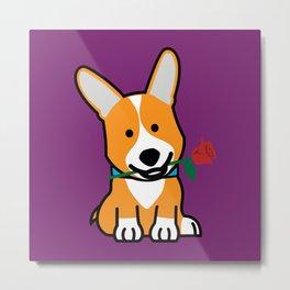 Corgi dog puppy Pembroke Welsh Valentine Rose Metal Print