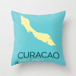 Curacao Island Travel Poster Throw Pillow