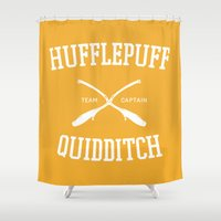 hufflepuff Shower Curtains featuring Hogwarts Quidditch Team: Hufflepuff by IA Apparel
