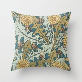 Art Nouveau Dandelion Pattern Throw Pillow