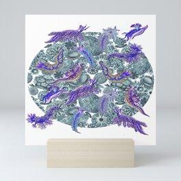 Ernst Haeckel Purple Hue Nudibranch Over Cerulean Sea Squirts Mini Art Print